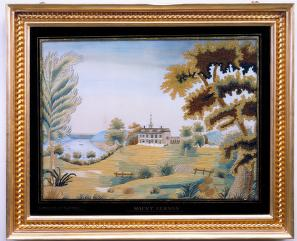 embroidered landscape with Mount Vernon in distance