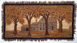 embroidered view of 18th century house behind elm trees