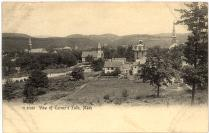 black and white photo of the center village of Turners Falls