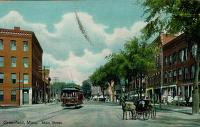 Main Street Greenfield, with horses and streetcar
